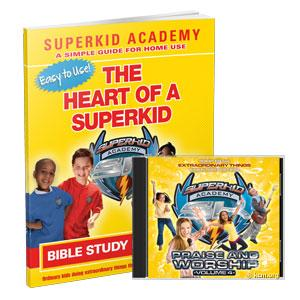 SKA Home Bible Study for Kids - Heart of a Superkid - God's Character in You Curriculum Workbook and Music CD