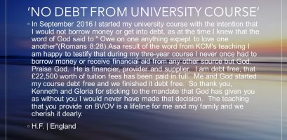 No debt from university course testimony image link
