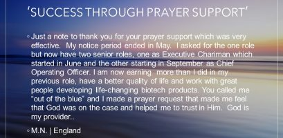 Success through prayer support testimony image link